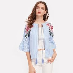 Take a look at my listing, folks👇 Embroidered Flower Patch Fluted Sleeve Tassel Tie Blouse http://luxuryandme.com/products/embroidered-flower-patch-fluted-sleeve-tassel-tie-blouse?utm_campaign=crowdfire&utm_content=crowdfire&utm_medium=social&utm_source=pinterest