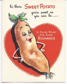 #370-Anthropomorphic Masher & Sweet Potato-Vtg Unused Valentine Greeting Card (01/07/2012)