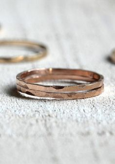 Pink gold ring hammered ring 14k pink gold wedding band by Praxis Jewelry