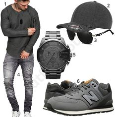 Grauer Herren-Stype mit Cap, Sneaker und Uhr (m1056) #amacisons #jeans #newbalance #flexfit #diesel #outfit #style #herrenmode #männermode #fashion #menswear #herren #männer #mode #menstyle #mensfashion #menswear #inspiration #cloth #ootd #herrenoutfit #männeroutfit