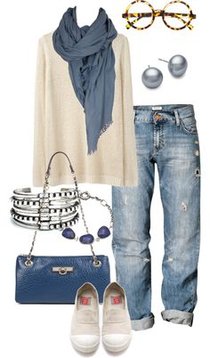 simple-wardrobe I love this, but once you hit a certain age, sloppy/torn jeans just don't work, but you can still wear a faded jean. idées de looks avec un foulard pashmina en hiver pour femme