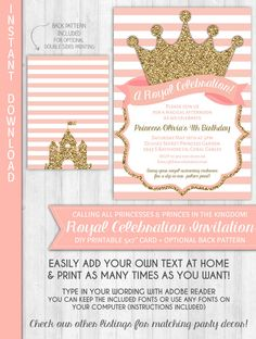 Princess Party Invitation Gold Blush Pink Glitter Baby Shower Royal Crown Stripes Birthday by WonderBash