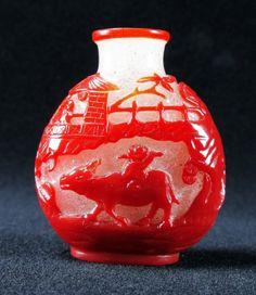 Chinese Red Boy on Ox Peking Glass Snuff Bottle : Lot 734