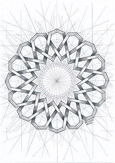 Geometric Shapes Art, Geometric Drawing, Geometric Designs, Islamic Art Pattern, Arabic Pattern, Pattern Art, Sacred Geometry Patterns, Sacred Geometry Art, Arabesque Pattern