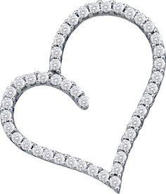 "14k White Gold 0.50CT Round White Diamond Heart Pendant (""201-39122"") Jewelcology"