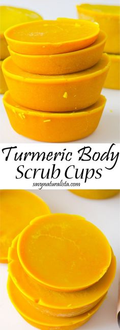 Were making turmeric body scrub cups. These scrub cups exfoliate, moisturize and provide anti-aging and exfoliation benefits for the skin.