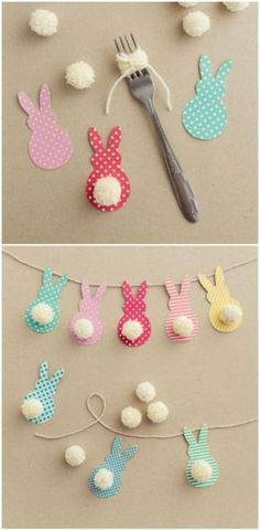 Gifts For Kids Easter decoration with bunnies - Easter bunny decoration.Learn the EASTER Bunny Story and Easter eggs facts to knowThis Colorful Easter Garland IsEaster of traditions in the company of rabbits, eggs and chocolate Decorating for Eas. Easy Easter Crafts, Bunny Crafts, Easter Crafts For Kids, Easter Gift, Toddler Crafts, Diy For Kids, Easter Dyi, Easter Eggs, Rabbit Crafts