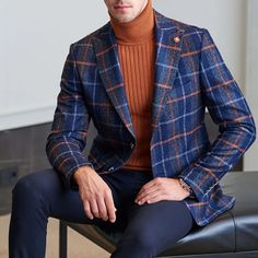 Collection: Fall – Winter Product: Slim Fit Plaid Blazer Color Code: Navy Blue Available Size: Jacket Material: wool, acrylic Machine Washable: No Fitting: Slim-Fit Cutting: Double Slits, Double Button Package Include: Blazer Only Plaid Fashion, Mens Fashion Suits, Men's Fashion, Daily Fashion, Striped Blazer, Colored Blazer, Winter Office Wear, Costume, Blazers For Men