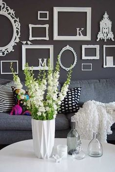 white empty frames for wall decoration
