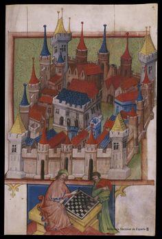 Español: Tractatus de ludo scacorum. Miniatura del siglo XV perteneciente al arte centroeuropeo, quizá realizado en Bohemia (actual República Checa), en Praga, durante el reinado de Vaclav IV (1378-1419) (Wenceslao IV)