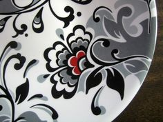Decorative Dishes - Black White Gray Red Toile Wallpaper Style Elegant Plate, $19.99 (http://www.decorativedishes.net/black-white-gray-red-toile-wallpaper-style-elegant-plate/)