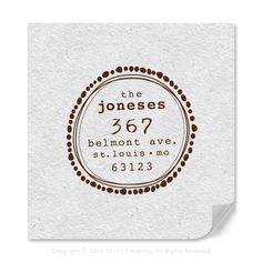 Personalized Address Rubber Stamp Fun Circle Design by 2impress, $19.95