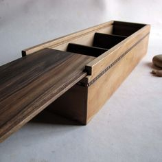 Wooden box Three compartment Reclaimed from furniture Sliding lid. €45.00, via Etsy.