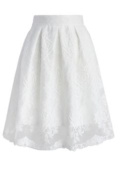 Pure Lace Embroidered Pleated Skirt