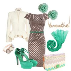 polka dots and teal, created by desirage.polyvore.com