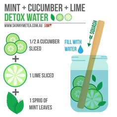 Mint + Cucumber + Lime Detox Water This one is so refreshing and hydrating, FitLifer. Have you tried this combo? How was it?  #mint #cucumber #lime