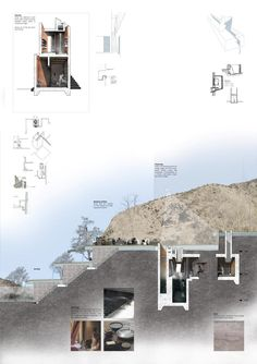 Presidents Medals: The Bridge of Alchemy, Atlas Mountains, Morocco Architecture Panel, Architecture Graphics, Architecture Drawings, Interior Architecture, Architecture Presentation Board, Presentation Boards, Mix Use Building, Architectural Section, Atlas Mountains