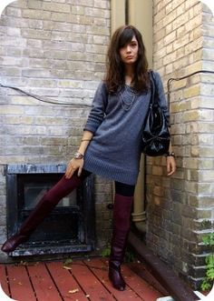 besides her standing awkward; i love this outfit. Oversized Grey Sweater, Burgundy Boots, Purple Leather, Thigh Highs, Awkward, Gold Chains, Leather Boots, Style Me, Swag
