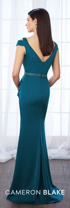 Cameron Blake 217647 - Sleeveless crepe trumpet gown with deep V-neckline featuring an illusion modesty panel, cutout cold shoulders, V-back, hand-beaded natural waistline finished with side ruffle accent, side slit, sweep train. Matching shawl included.