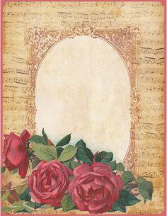 Lilac & Lavender ~ Vintage Roses and Sheet Music Frame Papel Vintage, Vintage Paper, Vintage Flowers, Vintage Floral, Printable Frames, Free Graphics, Writing Paper, Paper Background, Vintage Images