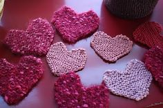 Katydid and Kid: St. Valentine's Knitted Heart Garland Tutorial