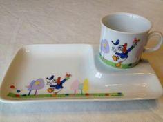 Vintage Donald Duck Disney Design Porcelain Cup & Snack Tray Set