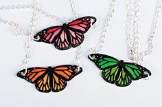 1pcs Handmade butterfly monarch shrink plastic necklace. $10.99, via Etsy. #spanishcraft
