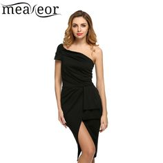 Meaneor Women Sexy Dress One Shoulder Hight Waist Ruched women Bodycon dress women Stretch Dress
