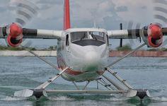 Фото обои вода, самолет, лопасти, приземление