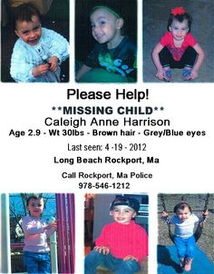 Another Missing Child flyer with information on Caleigh Harrison, my little cousin.