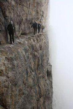 """ITALY - Passage of the """"via ferrata"""" Bocchette Centrali, on the Dolomiti del Brenta, Italy"""