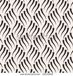 Vector seamless pattern. Modern stylish texture. Geometric striped ornament. Monochrome wavy background