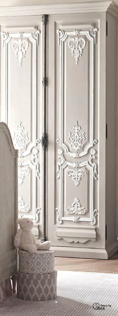 #French Inspired doors can be created with the right mouldings, appliqués, and castings. Paint brings it all together. http://www.thefrenchpropertyplace.com