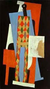 A painting by Pablo Picasso created in Key features of cubism are the distortion of everything. In this painting, Picasso takes a image of a man and completely breaks him up and distorts him making the painting broken and disturbing. Kunst Picasso, Art Picasso, Picasso Paintings, Georges Braque, Paul Gauguin, Synthetic Cubism, Great Works Of Art, Spanish Painters, Harlem Renaissance