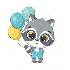 Cute Baby Raccoon With Balloons. Illustration For Baby Shower, Greeting Card, Party Invitation, Fashion Clothes T-shirt Print. Baby Raccoon, Cute Raccoon, Animal Drawings, Cute Drawings, Drawing Sketches, Baby Shower Greeting Cards, Balloon Illustration, Cute Animal Illustration, Birthday Clips