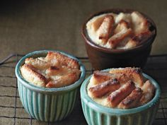 "Salted Caramel Banana Bread Puddings.  From ""Sinfully Easy Delicious Desserts"" by Alice Medrich.  via Serious Eats.  Photo by Sang An."