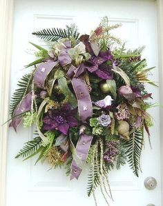Large Puple/Lilac/ Gold Winter/Christmas Wreath by HungUpOnWreaths