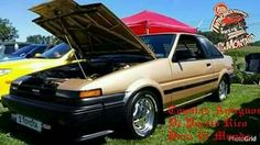 This is the look from PR - buffed rims, extra wide BFGoodrich tires, low stance, and overall cleanliness. Lovin it! Corolla Ae86, Toyota Corolla, Tuner Cars, Jdm Cars, Import Cars, Toyota Cars, Scion, Japanese Cars, Bel Air