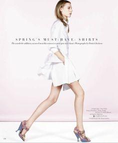 visual optimism; fashion editorials, shows, campaigns & more!: spring's must-have: shirts : julia nobis by daniel jackson for us harper's bazaar april 2014