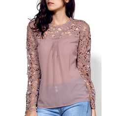 Shop For Stylish Scoop Neck Long Sleeve Lace Embroidery Spliced Women's Blouse KHAKI online on Dressfo.A site with wide selection of trendy fashion style women's clothing, especially swimwear in all kinds which costs at an affordable price. Moda Do Momento, Trendy Fashion, Womens Fashion, Style Fashion, Casual Outfits, Fashion Outfits, Lace Embroidery, Embroidery Jewelry, Lace Tops
