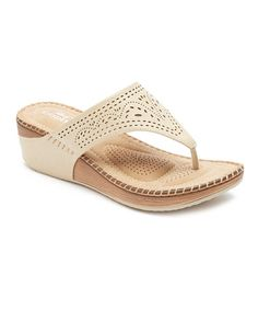 Loving this Beige Pointed Perforation Sandal on #zulily! #zulilyfinds