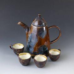 Teapot Set Blue Orange 1000 ml 4 x cups 60