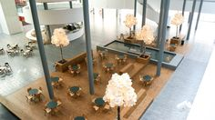 University of Copenhagen, public indoor acoustic lighting trees by Green Furniture Concept. Acoustic lighting of tree size, leaves of wool, birch tree trunks
