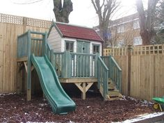 Playhouse with platform and slide (PC120221) - tree house, playhouses outdoor, garden playhouse, children's play house, outdoor wendy house, wooden playhouse