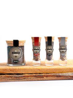 Sal Nordish by Pancho López, via Behance. Sugar Packaging, Spices Packaging, Cool Packaging, Candle Packaging, Beverage Packaging, Product Packaging, Brand Packaging, Spice Bottles, Jar Design