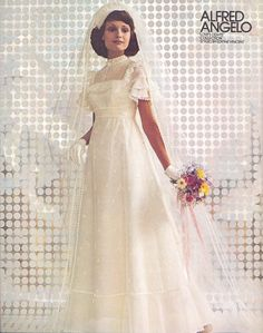 """Alfred Angelo """"Love Lights"""" styled by Edythe Vincent, vintage designer fashion bride ad from 1974"""