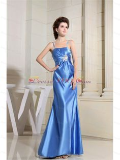 Beading Prom Dress With Strapless Satin Sky Blue Floor-length