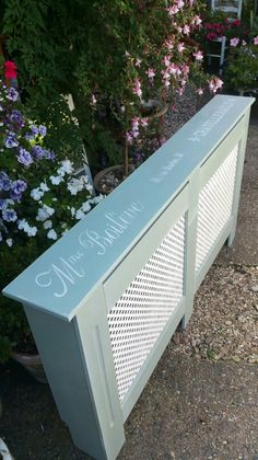 Shabby chic radiator cover in Annie Sloan's Duck Egg and Old White, by Imperfectly Perfect xx
