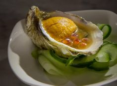 Hopscotch, Oakland: Yonsei oyster with sea urchin, salmon roe and citrus soy.