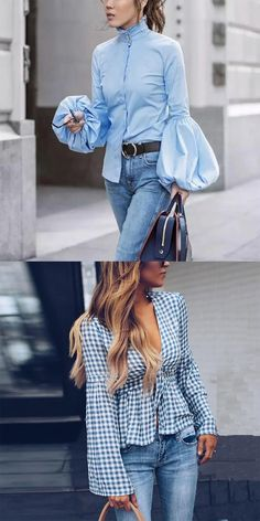The Effective Pictures We Offer You About unique blouse for women A quality picture can tell you man Winter Mode, Fashion Dresses, Women's Fashion, Fashion Blouses, Denim Outfit, Online Fashion Stores, Womens Fashion For Work, Blouse Styles, Chic Outfits